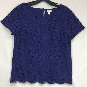 J. Crew Eyelet Embroidered Stitch Blue Violet Top